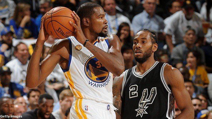 Golden State Warriors (4) - (5) San Antonio Spurs [3-2] Kevin-durant-kawhi-leonard-warriors